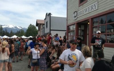 Some crews behind the taps at the 2015 Haines Beer Fest…
